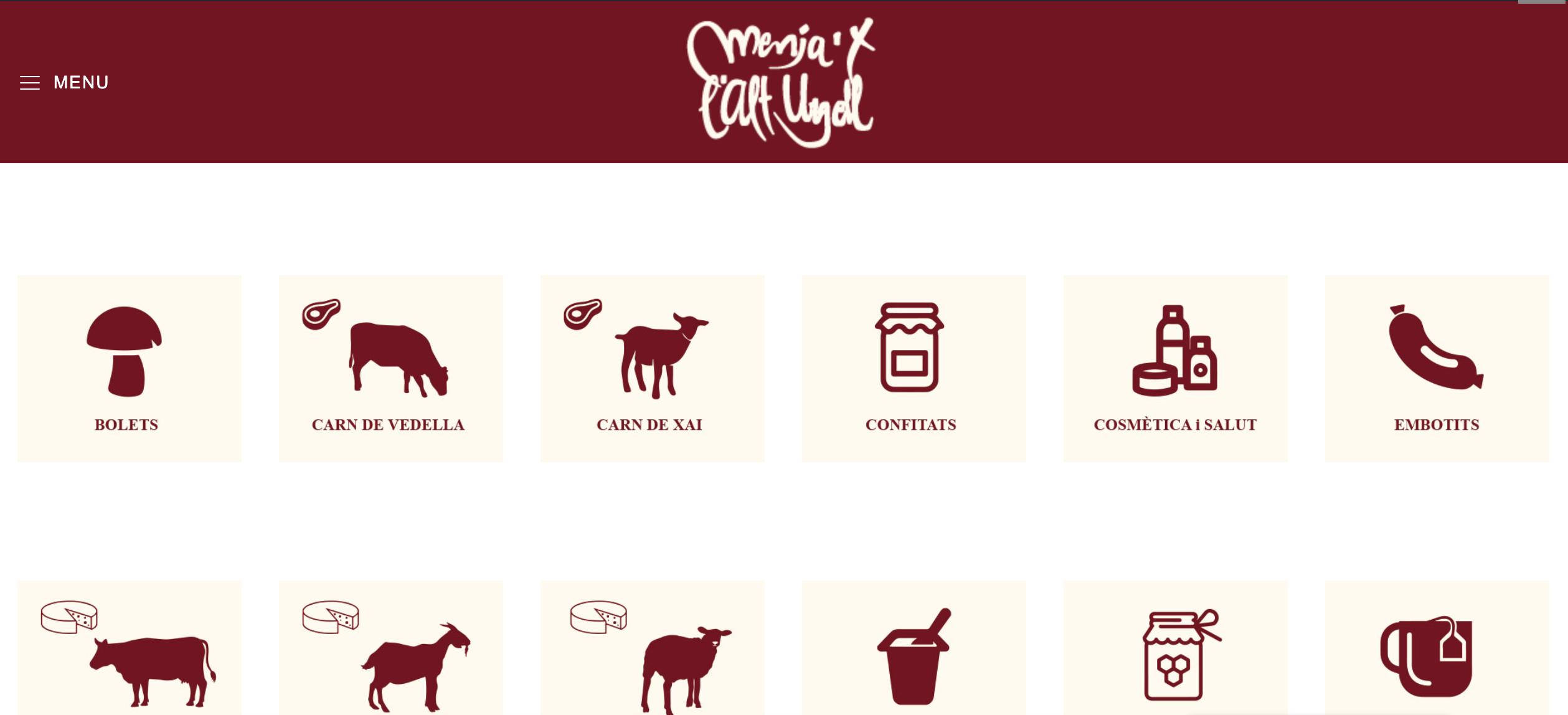 Pàgina principal de la botiga en línia